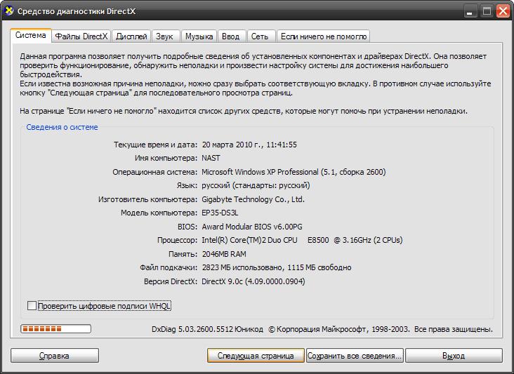 Появится окно диагностики DirectX
