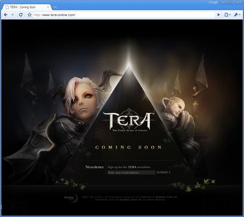 Главная страница tera-online.com с формой для подписки на новости